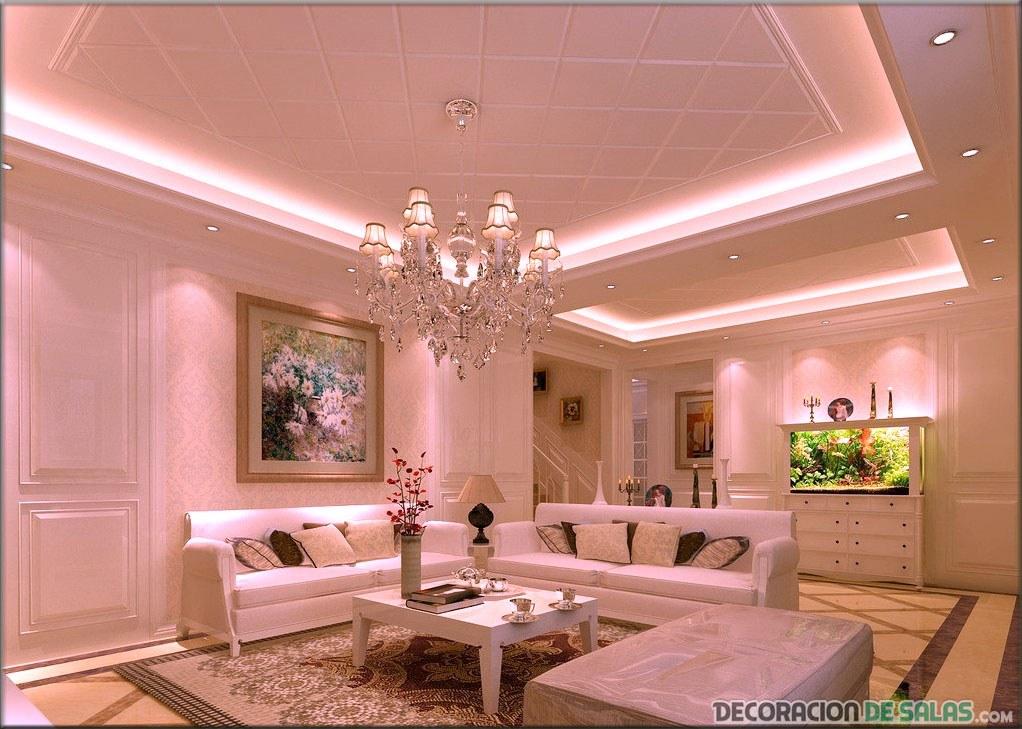 salón iluminado con falso techo