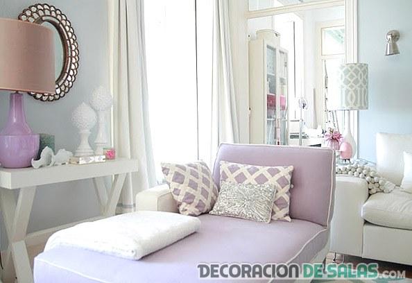 salón lila y colores pastel
