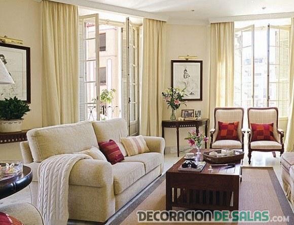 salón luminoso acogedor en beige