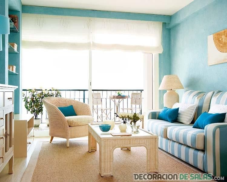 salón luminoso en azul