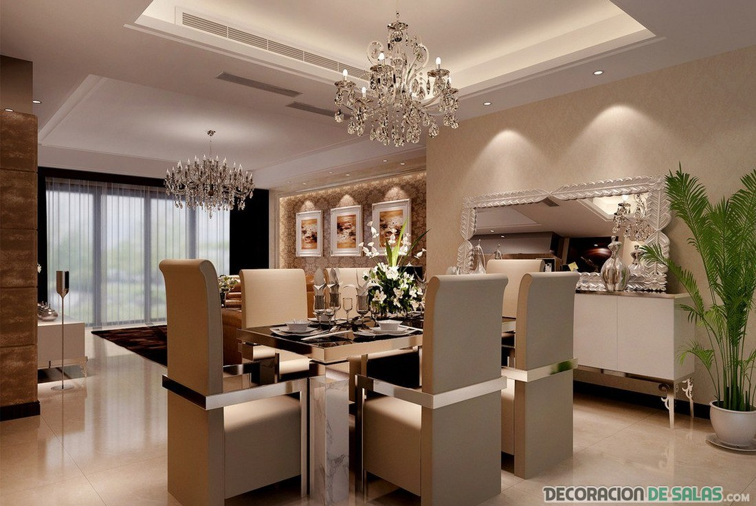 salón marrón metalizado elegante