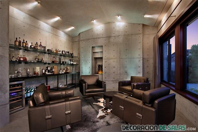 salón masculino con sofás de piel