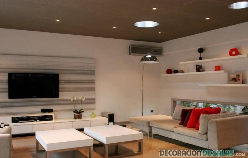 salón minimalista con color rojo