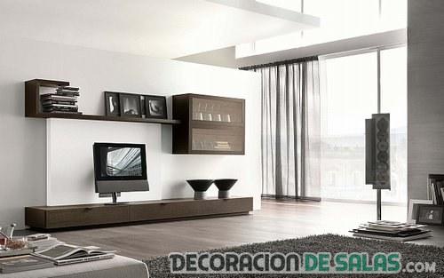 salon minimalista madera oscuro