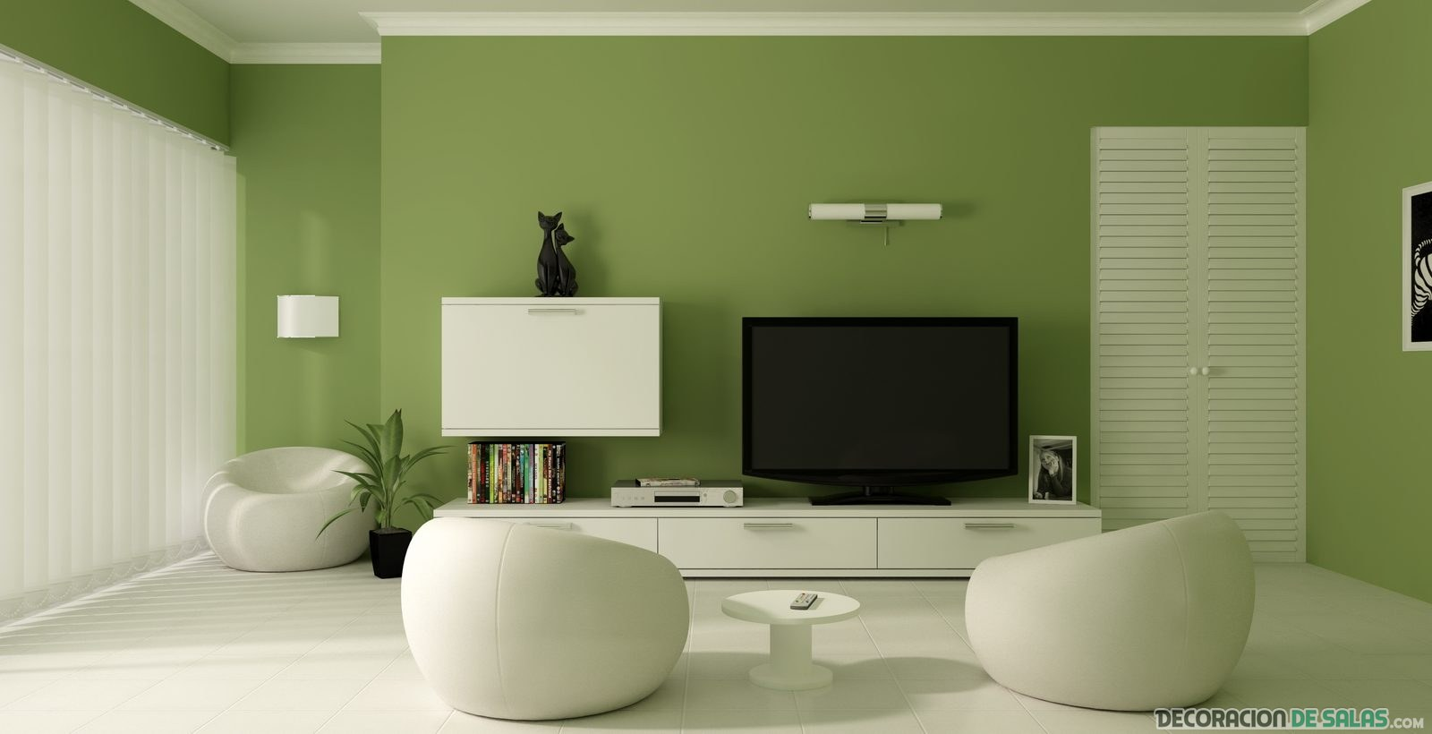 salon minimalista verde