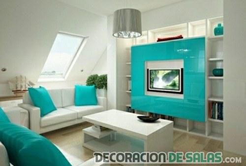 salón moderno color turquesa