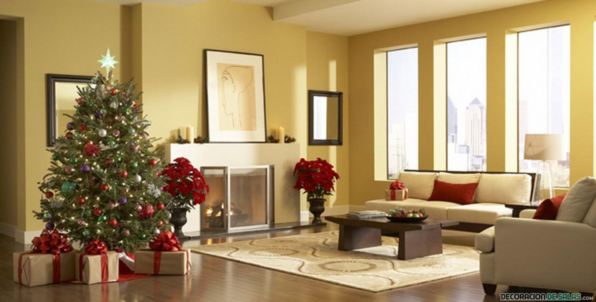 salón moderno con decoración navideña
