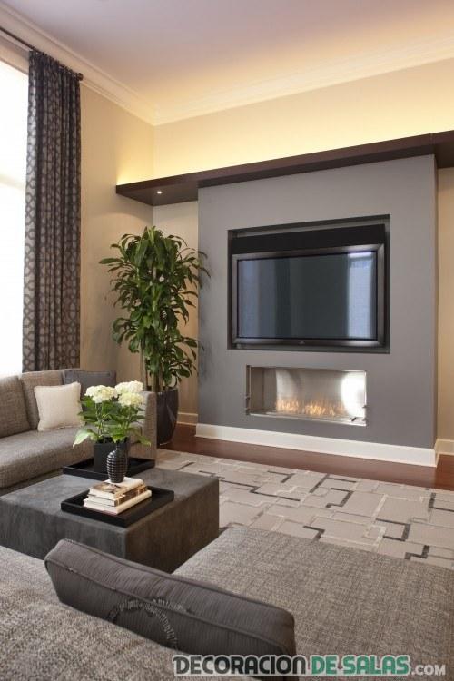 salón moderno con tele en la pared