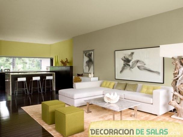 salón moderno con tonos en verde