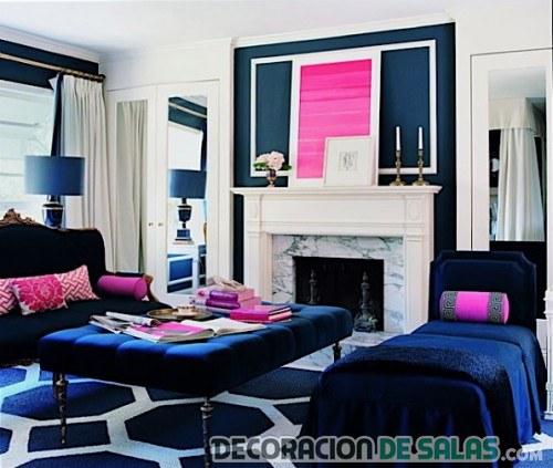 salón moderno en azul y rosa