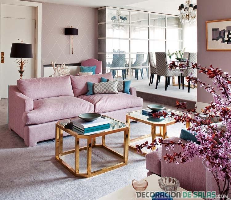 salón moderno en color rosa