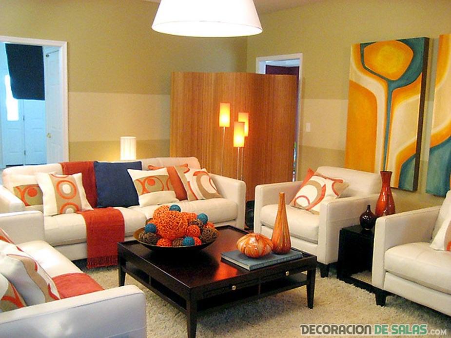 salon moderno en colores vivos