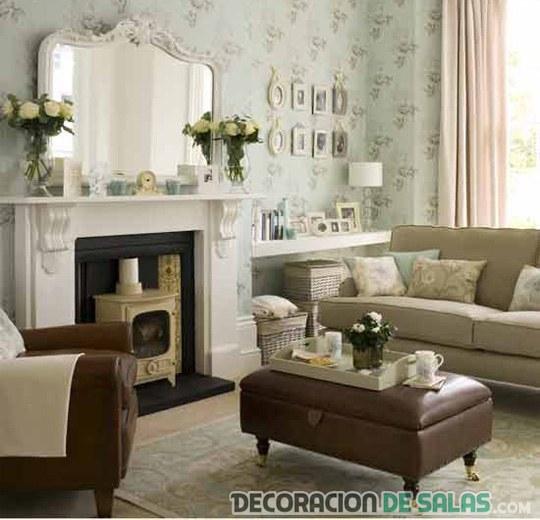 salón neutro con estilo clásico