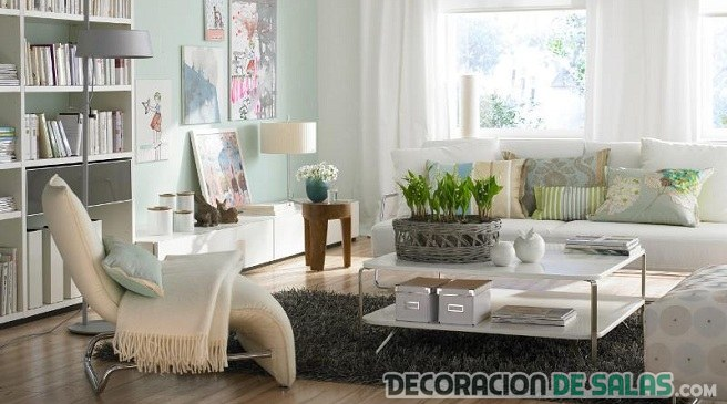 salón nórdico con tonos pastel
