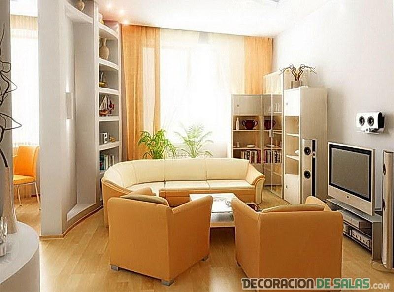 salón pequeño con tonos en naranja