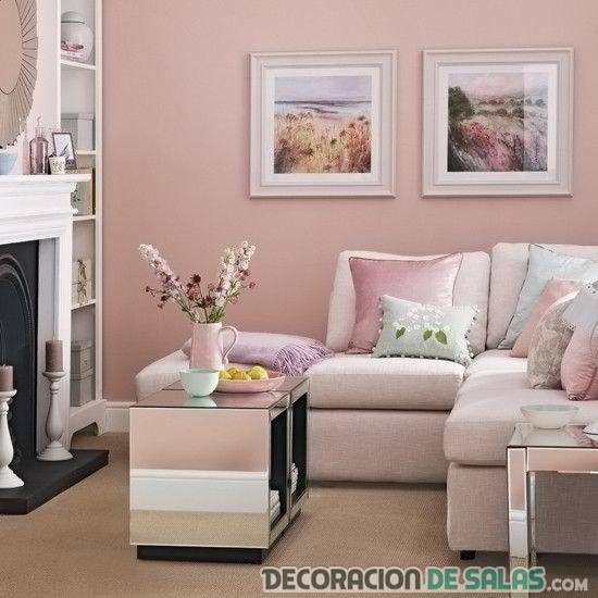 salón pequeño en color pastel