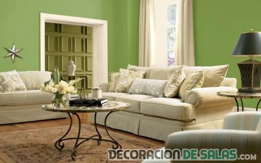 salón pequeño en color verde