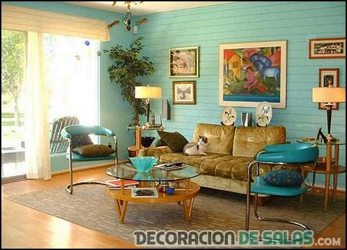 salón retro en color azul