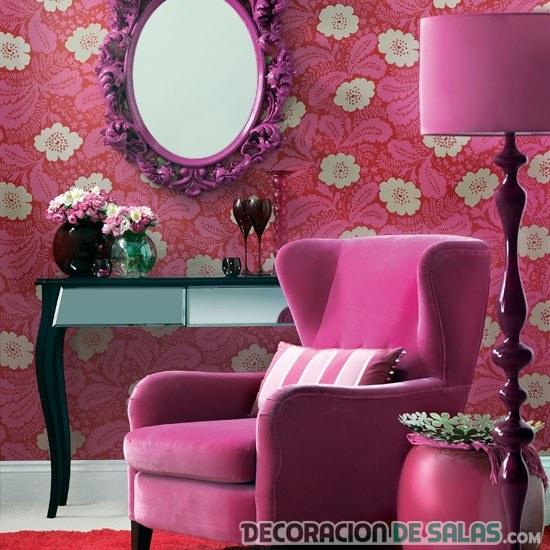 salón rosa con muebles en rosa