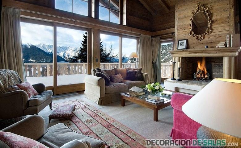 salón rústico con detalles cálidos en invierno