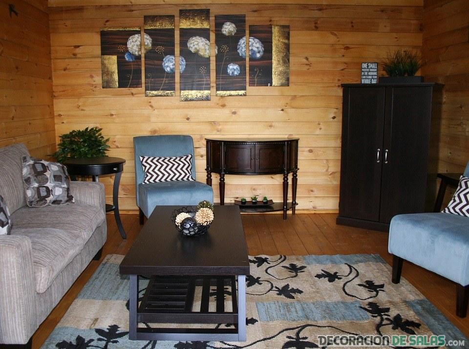 salón rústico con paredes de madera