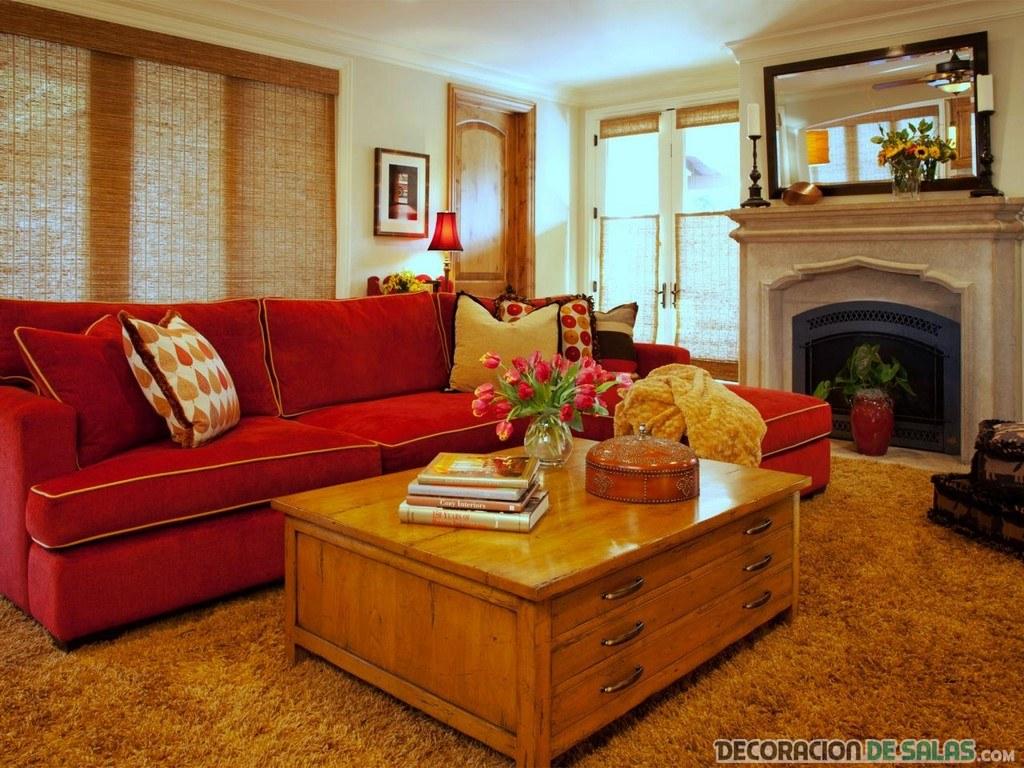salón sofá rojo rústico