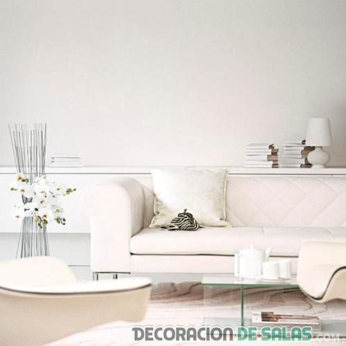 salón white con madera