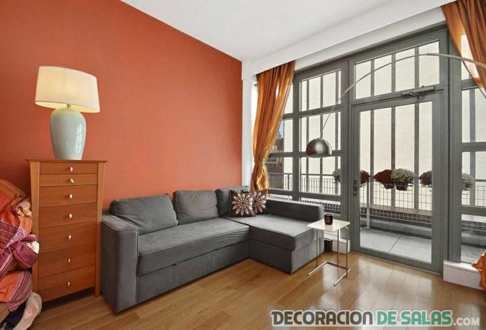 Naranja y gris, la mejor combinación para tu salón ...