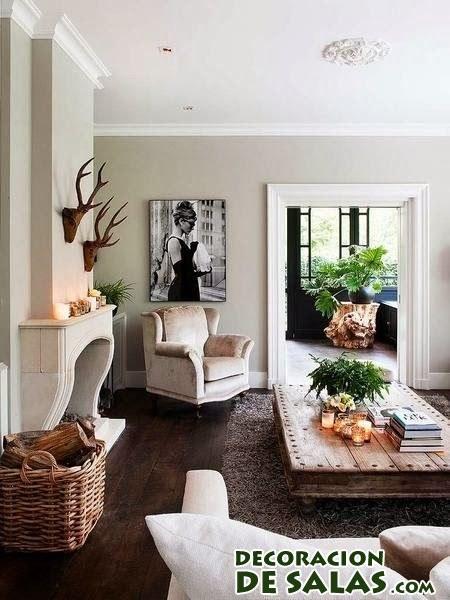 Salones decorados en marrón y blanco