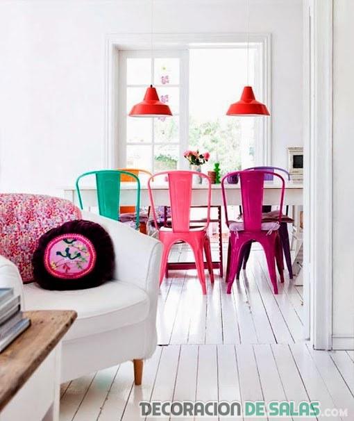 sillas de comedor en colores rosas