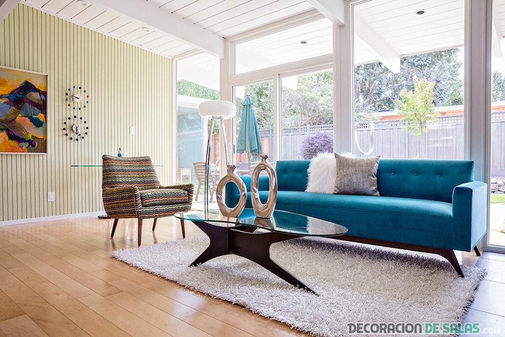 sofá azul para salón grande