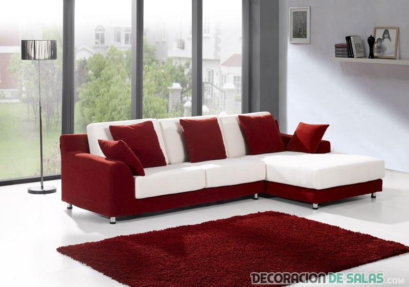sofá bicolor en rojo