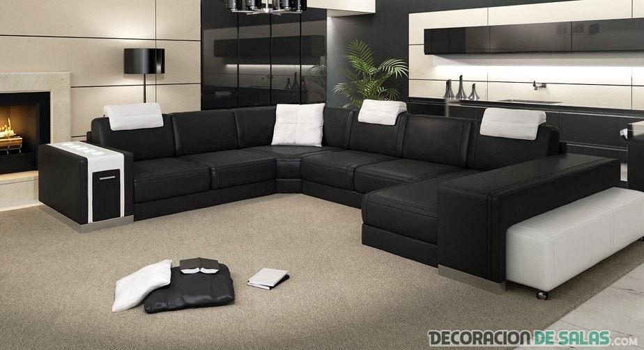 sofá blanco y negro con reposacabezas