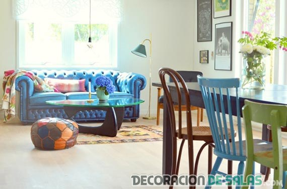 sofá chester en decoración a todo color