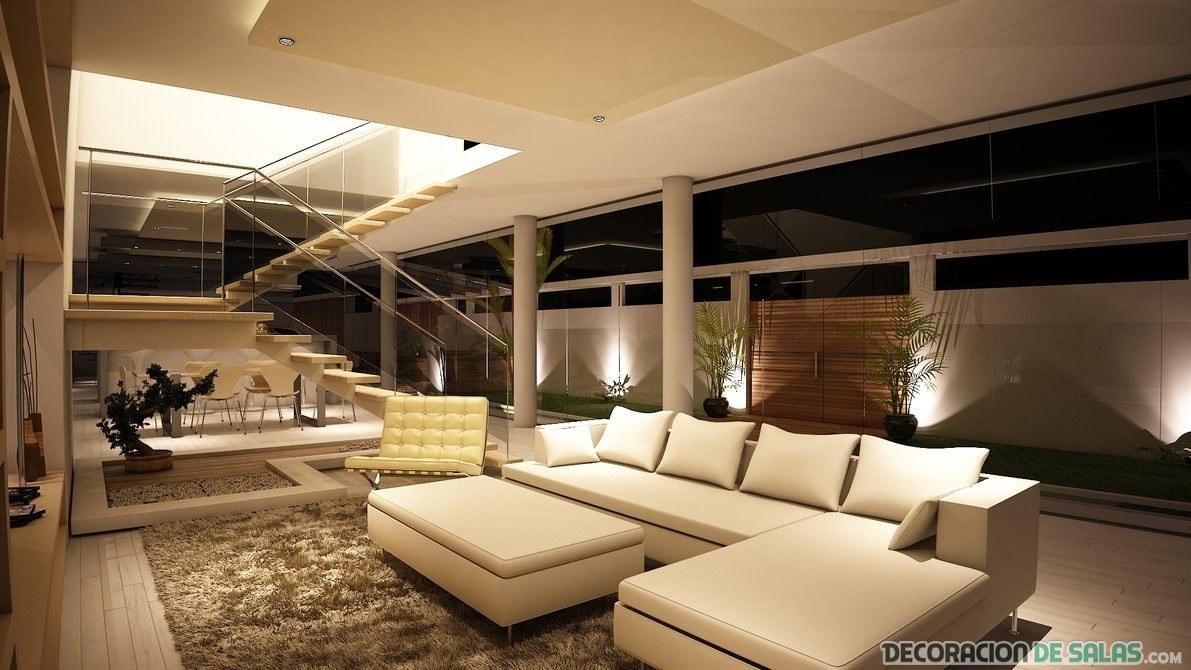 sofá en beige para salón abierto