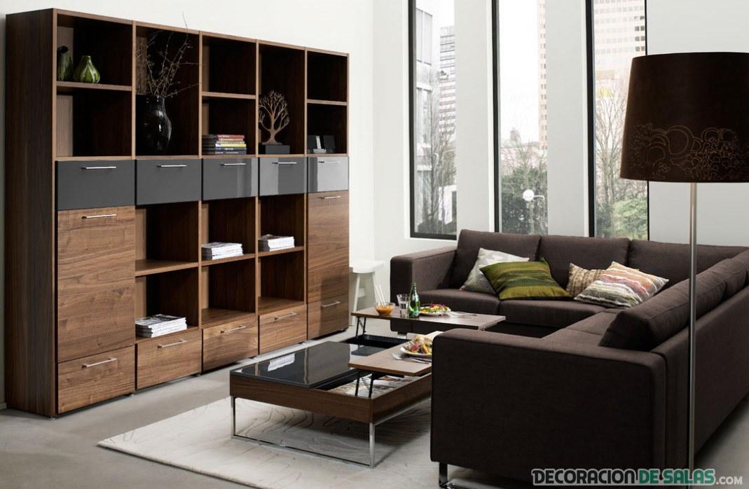 sofá en marrón con mueble