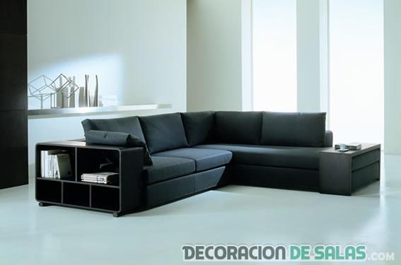 sofá grande en color negro con estantería