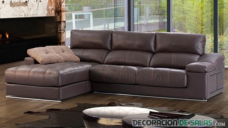 sofá polipiel marron oscuro