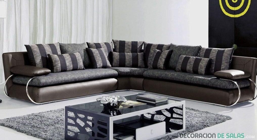 sofá rinconero en gris oscuro