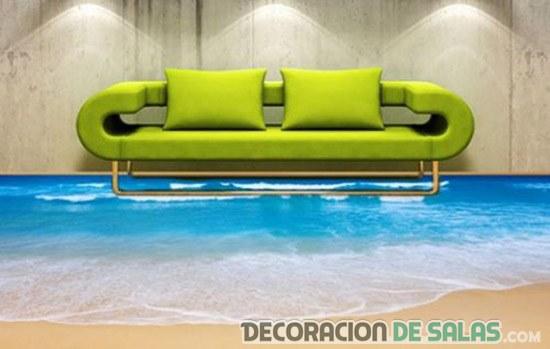 sofá sobre suelo en 3d
