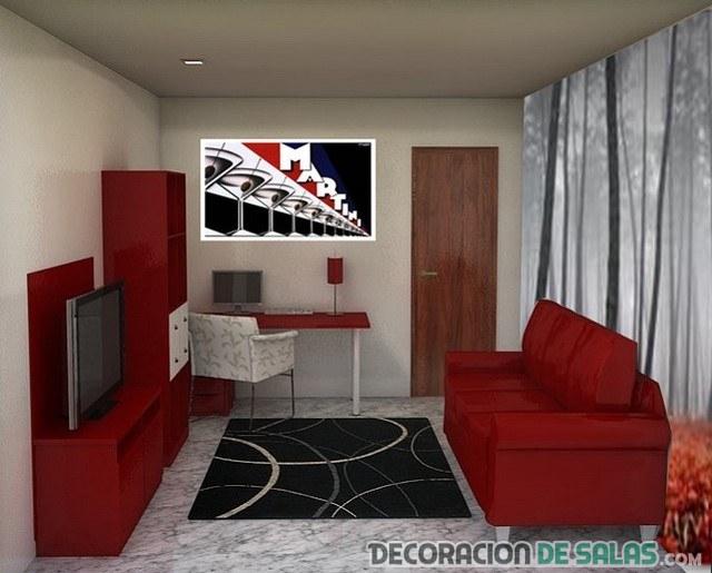 sofá y mueble en color rojo