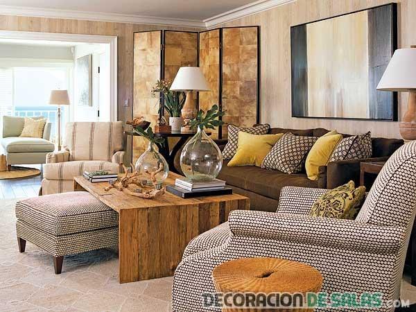 sofás combinados en color y texturas