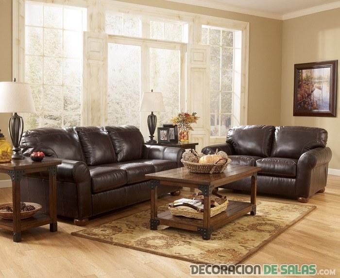 sofás de cuero en marrón chocolate