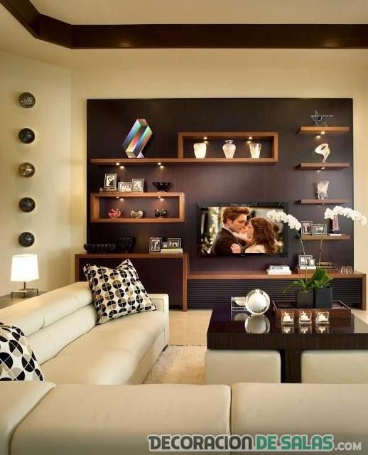 sofás en beige y mueble marrón para salón