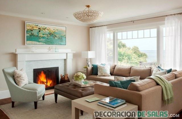 sofás y salón en colores neutros