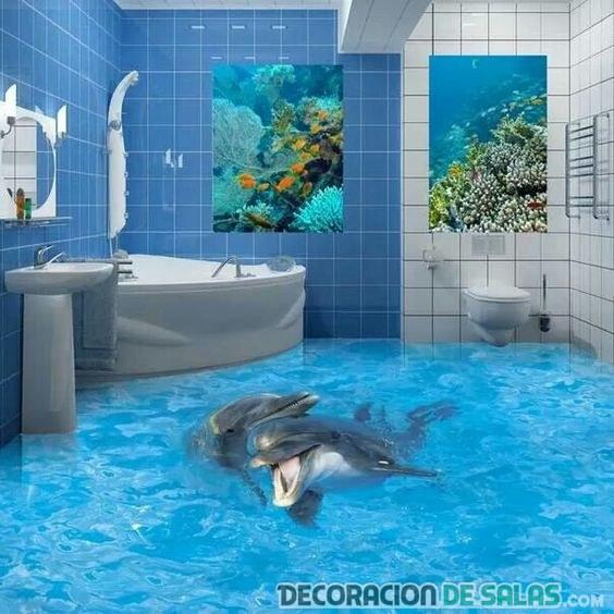 suelo 3d con delfines