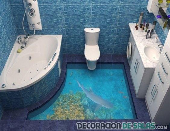suelo 3d discreto para baños