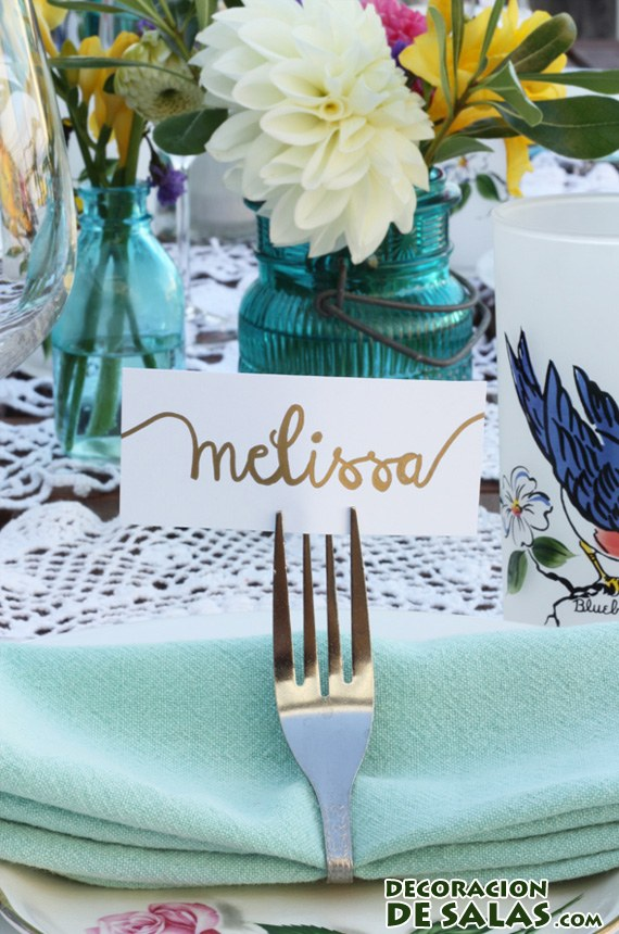 tarjetas con nombres de invitados
