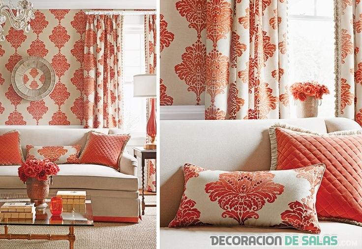 textiles para salón en coral