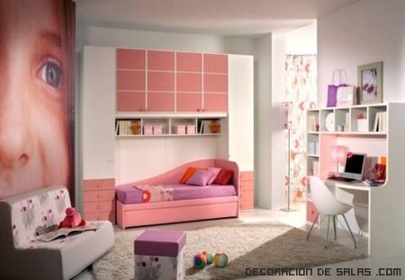 habitaciones de niñas con almacenaje